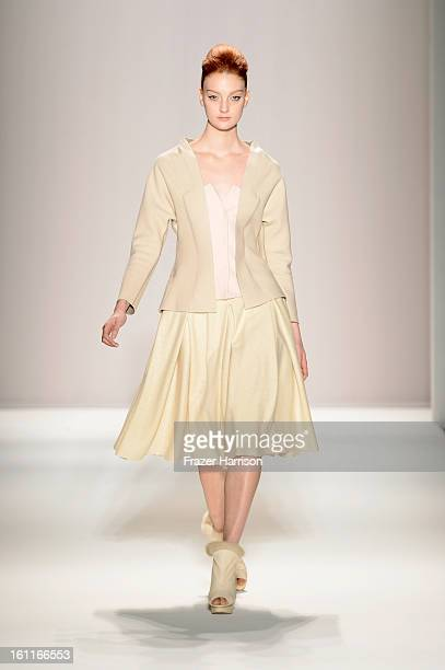 A model walks the runway at the Son Jung Wan Fall 2013 fashion show during MercedesBenz Fashion Week at The Studio at Lincoln Center on February 9...