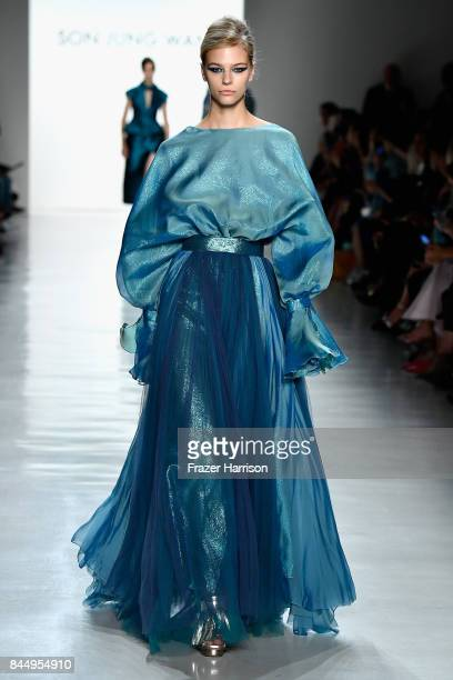 Model walks the runway at the Son Jung Wan fashion show during New York Fashion Week: The Shows at Gallery 3, Skylight Clarkson Sq on September 9,...