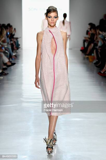 A model walks the runway at the Son Jung Wan fashion show during New York Fashion Week The Shows at Gallery 3 Skylight Clarkson Sq on September 9...