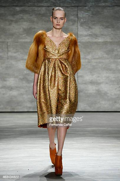 Model walks the runway at the Son Jung Wan fashion show during Mercedes-Benz Fashion Week Fall 2015 at The Pavilion at Lincoln Center on February 14,...