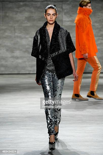 A model walks the runway at the Son Jung Wan fashion show during MercedesBenz Fashion Week Fall 2015 at The Pavilion at Lincoln Center on February 14...
