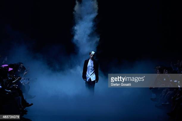 A model walks the runway at the Song For The Mute show during MercedesBenz Fashion Week Australia 2014 at Carriageworks on April 10 2014 in Sydney...
