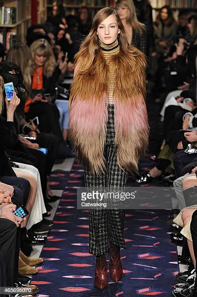Model walks the runway at the Sonia Rykiel Autumn Winter 2015 fashion show during Paris Fashion Week on March 9, 2015 in Paris, France.