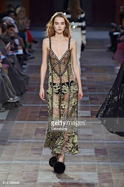 A model walks the runway at the Sonia Rykiel Autumn Winter 2016 fashion show during Paris Fashion Week on March 7 2016 in Paris France