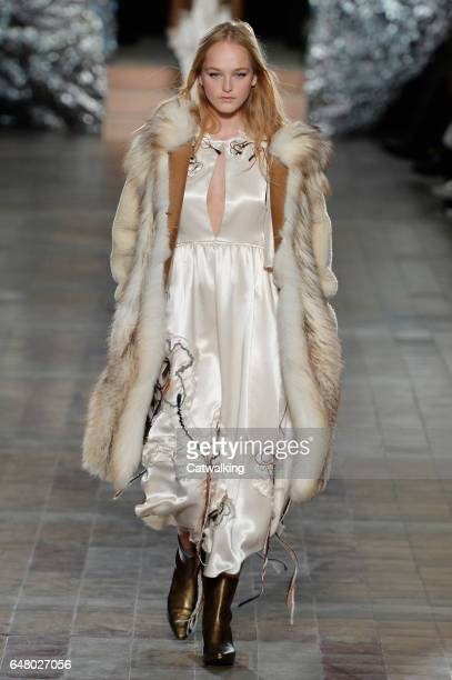 Model walks the runway at the Sonia Rykiel Autumn Winter 2017 fashion show during Paris Fashion Week on March 4, 2017 in Paris, France.