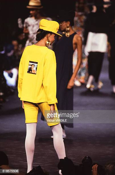 A model walks the runway at the Sonia Rykiel Ready to Wear Spring/Summer 19881989 fashion show during the Paris Fashion Week in October 1988 in Paris...
