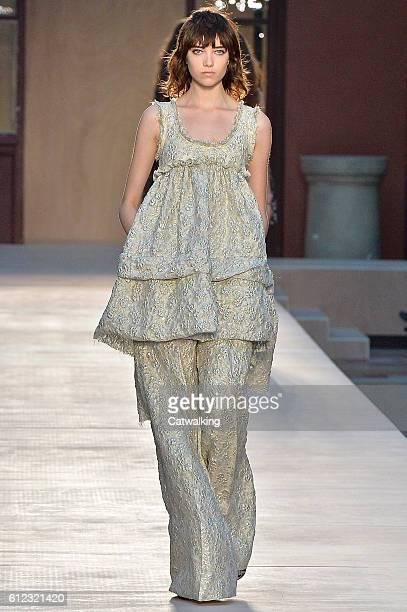 Model walks the runway at the Sonia Rykiel Spring Summer 2017 fashion show during Paris Fashion Week on October 3, 2016 in Paris, France.