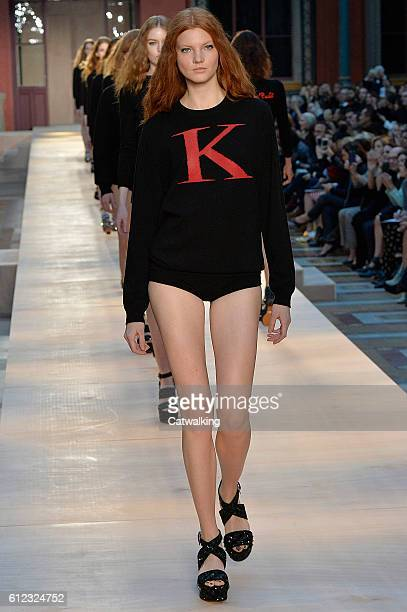 A model walks the runway at the Sonia Rykiel Spring Summer 2017 fashion show during Paris Fashion Week on October 3 2016 in Paris France