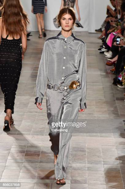 A model walks the runway at the Sonia Rykiel Spring Summer 2018 fashion show during Paris Fashion Week on September 30 2017 in Paris France