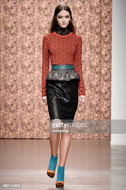 A model walks the runway at the Sophie Theallet Autumn Winter 2015 fashion show during New York Fashion Week on February 17 2015 in New York United...