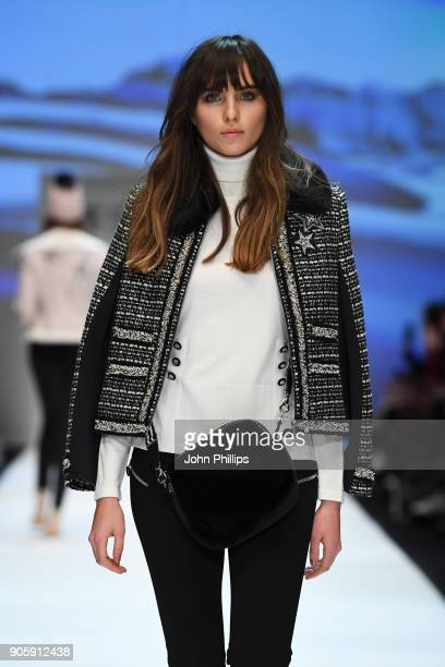 A model walks the runway at the Sportalm show during the MBFW Berlin January 2018 at ewerk on January 17 2018 in Berlin Germany