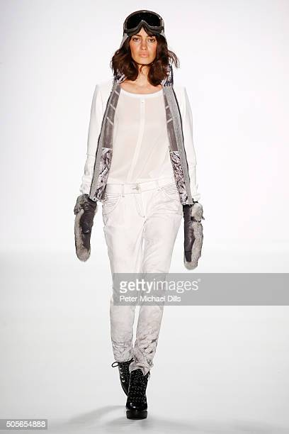 A model walks the runway at the Sportalm show during the MercedesBenz Fashion Week Berlin Autumn/Winter 2016 at Brandenburg Gate on January 19 2016...