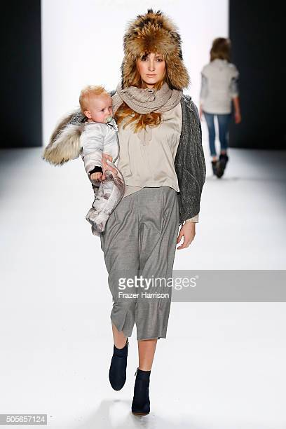 A model walks the runway at the Sportalm show during the MercedesBenz Fashion Week Berlin Autumn/Winter 2016 at Brandenburg Gate on January 19 2016...