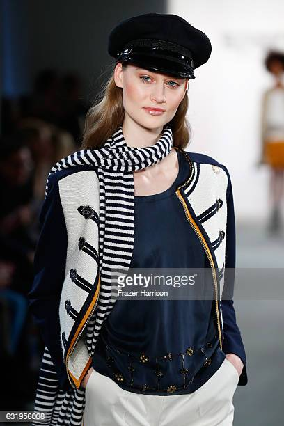 A model walks the runway at the Sportalm show during the MercedesBenz Fashion Week Berlin A/W 2017 at Kaufhaus Jandorf on January 18 2017 in Berlin...