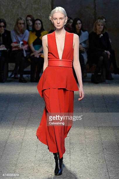 Model walks the runway at the Sportmax Autumn Winter 2014 fashion show during Milan Fashion Week on February 21, 2014 in Milan, Italy.