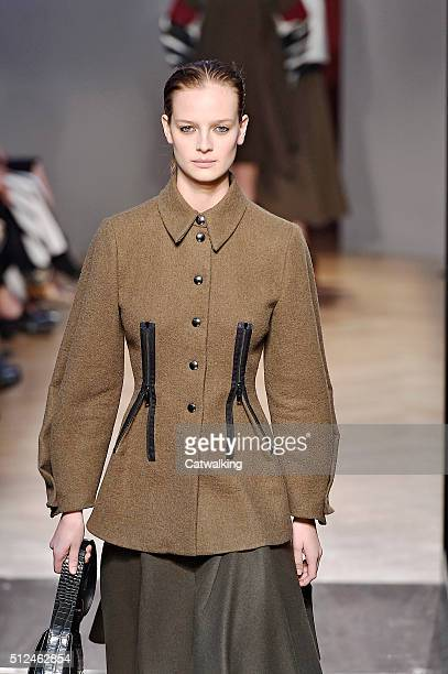 Model walks the runway at the Sportmax Autumn Winter 2016 fashion show during Milan Fashion Week on February 26, 2016 in Milan, Italy.