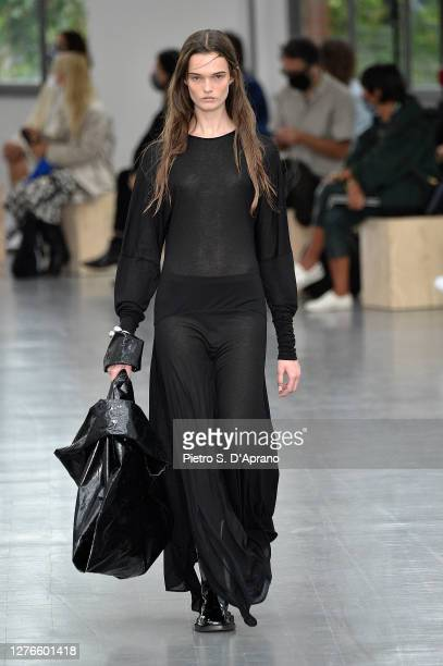 Model walks the runway at the Sportmax fashion show during the Milan Women's Fashion Week on September 25, 2020 in Milan, Italy.