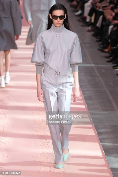 A model walks the runway at the Sportmax show at Milan Fashion Week Autumn/Winter 2019/20 on February 22 2019 in Milan Italy