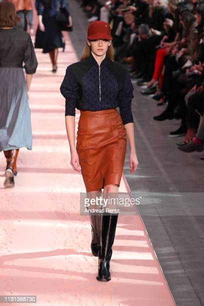 Model walks the runway at the Sportmax show at Milan Fashion Week Autumn/Winter 2019/20 on February 22, 2019 in Milan, Italy.
