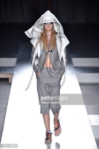 Model walks the runway at the Sportmax show during Milan Fashion Week Spring/Summer 2019 on September 21, 2018 in Milan, Italy.