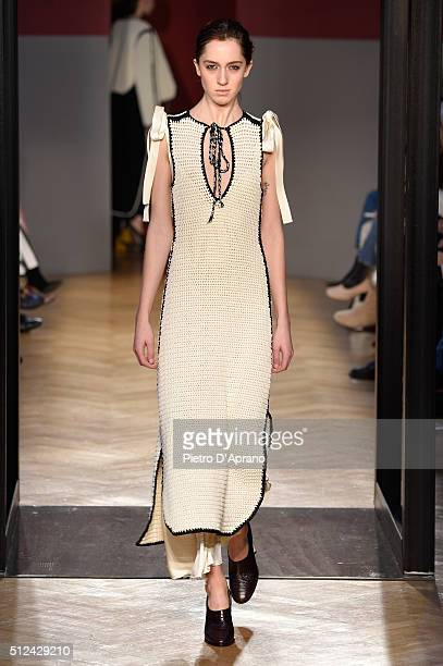 Model walks the runway at the Sportmax show during Milan Fashion Week Fall/Winter 2016/17 on February 26, 2016 in Milan, Italy.