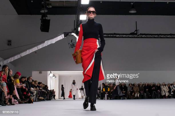 Model walks the runway at the Sportmax show during Milan Fashion Week Fall/Winter 2018/19 on February 23, 2018 in Milan, Italy.