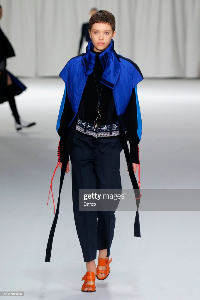 A model walks the runway at the Sportmax show during Milan Fashion Week Fall/Winter 2018/19 on February 23, 2018 in Milan, Italy.