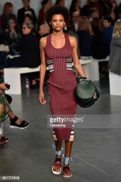 Model walks the runway at the Sportmax Spring Summer 2018 fashion show during Milan Fashion Week on September 22, 2017 in Milan, Italy.
