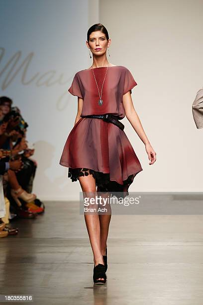 A model walks the runway at the Stacie May show during Nolcha Fashion Week New York Spring/Summer 2014 presented by RUSK at Pier 59 Studios on...