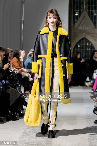 A model walks the runway at the Stand show during the Copenhagen Fashion Week Autumn/Winter 2019 on January 31 2019 in Copenhagen Denmark