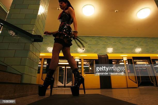 A model walks the runway at the Stefan Kretzschmar Underground Catwalk fashion show held in a subway train at the Alexanderplatz U5 underground...