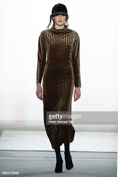 A model walks the runway at the Steinrohner show during the MercedesBenz Fashion Week Berlin A/W 2017 at Kaufhaus Jandorf on January 19 2017 in...