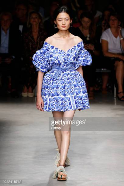 A model walks the runway at the Stella Jean show during Milan Fashion Week Spring/Summer 2019 on September 22 2018 in Milan Italy