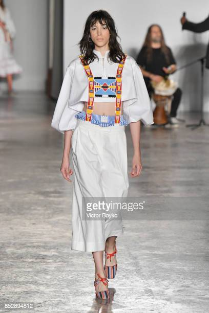 A model walks the runway at the Stella Jean show during Milan Fashion Week Spring/Summer 2018 on September 24 2017 in Milan Italy