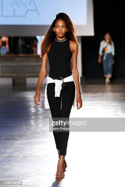 Model walks the runway at the Stella Jean show during the Milan Fashion Week Spring/Summer 2020 on September 21, 2019 in Milan, Italy.