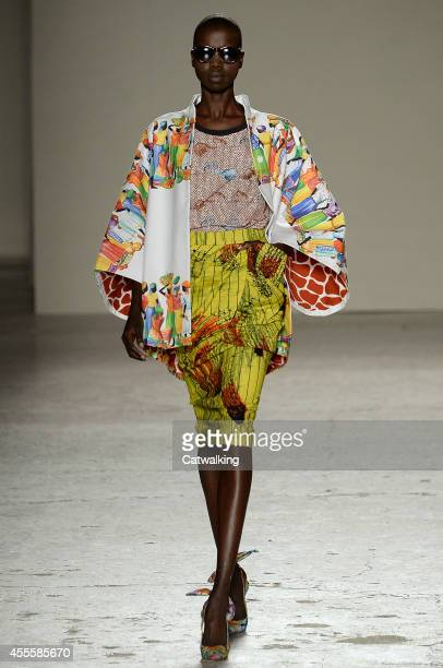 Model walks the runway at the Stella Jean Spring Summer 2015 fashion show during Milan Fashion Week on September 17, 2014 in Milan, Italy.