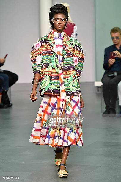 A model walks the runway at the Stella Jean Spring Summer 2016 fashion show during Milan Fashion Week on September 23 2015 in Milan Italy