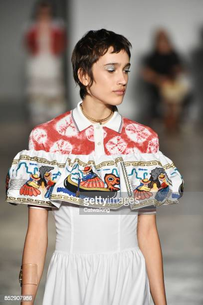 A model walks the runway at the Stella Jean Spring Summer 2018 fashion show during Milan Fashion Week on September 24 2017 in Milan Italy