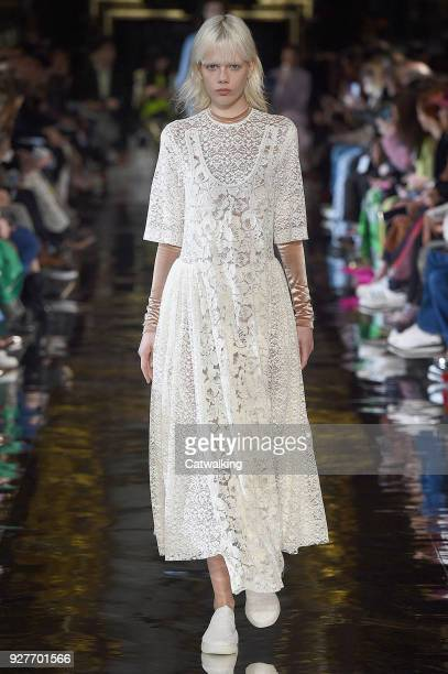 A model walks the runway at the Stella McCartney Autumn Winter 2018 fashion show during Paris Fashion Week on March 5 2018 in Paris France
