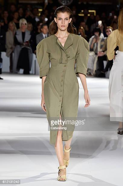 A model walks the runway at the Stella McCartney Spring Summer 2017 fashion show during Paris Fashion Week on October 3 2016 in Paris France