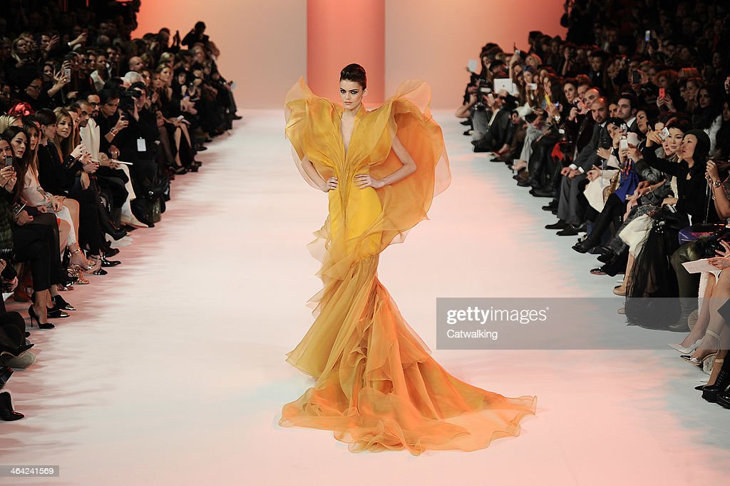 A model walks the runway at the Stephane Rolland Spring Summer 2014 fashion show during Paris Haute Couture Fashion Week on January 21, 2014 in Paris, France.