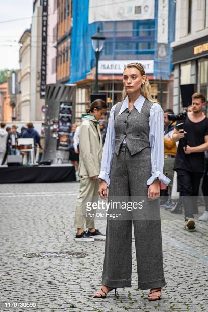 A model walks the runway at the street viewing of Norwegian Design at the opening of the Richie Talboy and Yael Quint Exhibition at the Fushion...