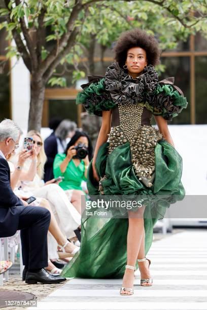 Model walks the runway at the Style Award Show during Frankfurt Fashion Week on July 7, 2021 in Frankfurt am Main, Germany.