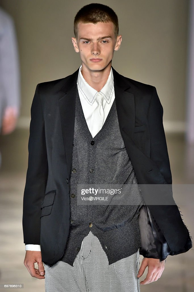 A model walks the runway at the Sulvam fashion show during Milan Men's Fashion Week Spring/Summer 2018 on June 18, 2017 in Milan, Italy.