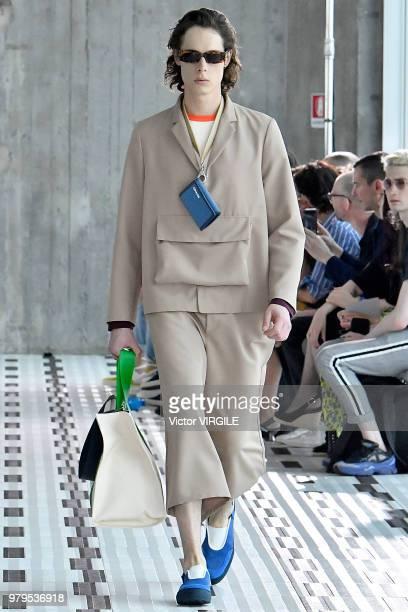 Model walks the runway at the Sunnei fashion show during Milan Men's Fashion Week Spring/Summer 2019 on June 17, 2018 in Milan, Italy.