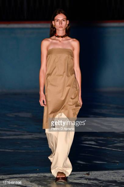 Model walks the runway at the Sunnei fashion show during the Milan Women's Fashion Week on September 24, 2020 in Milan, Italy.