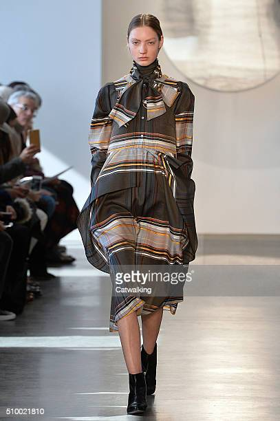 A model walks the runway at the Suno Autumn Winter 2016 fashion show during New York Fashion Week on February 13 2016 in New York United States