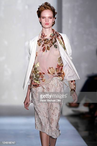 A model walks the runway at the Suno Spring 2012 fashion show during MercedesBenz Fashion Week at Milk Studios on September 9 2011 in New York City