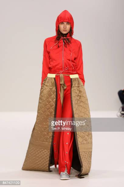 A model walks the runway at the Swedish School of Textiles runway during London Fashion Week September 2017 on September 15 2017 in London England