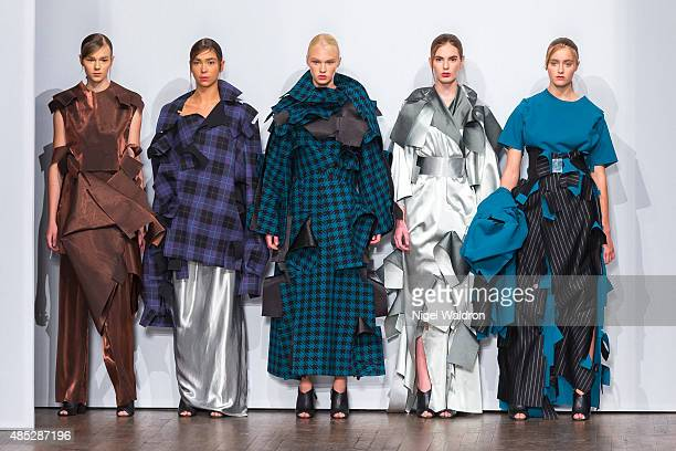 A model walks the runway at the Swedish School of Textiles Show at Stockholm Fashion Week Spring/Summer 2016 on August 26 2015 in Stockholm Sweden